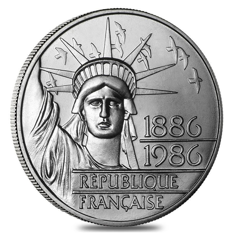 100 франков. Статуя свободы. Пъедфорт. Франция. 1986 год. Серебро