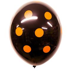 Воздушный шар черный с оранжевым «Горохом»