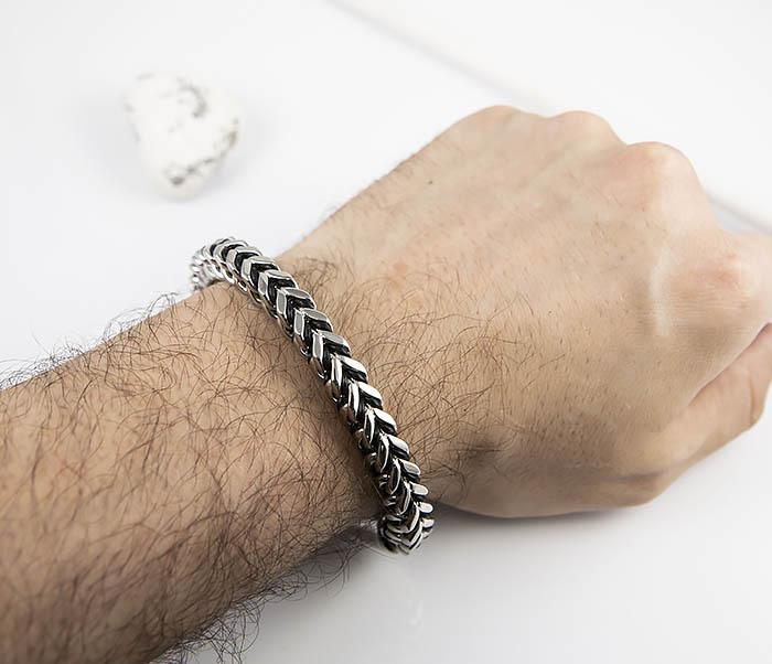 BM525-1 Мужской браслет цепь из стали и кожаного шнура (22 см) фото 08