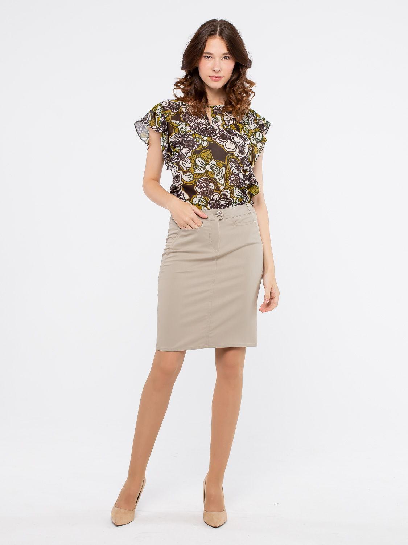 Юбка Б784-393 - Прямая юбка из легкой костюмной ткани. Прекрасно сочетается с любым верхом, подойдет как для офиса так и для повседневной жизни.