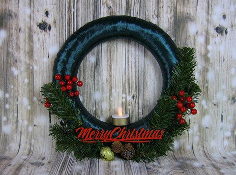 Вінок декоративний Merry Christmas зелений