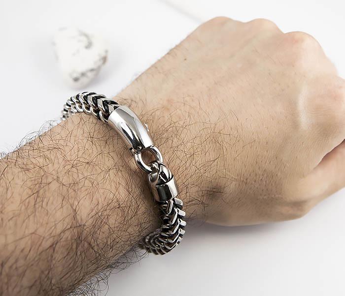 BM525-1 Мужской браслет цепь из стали и кожаного шнура (22 см) фото 09