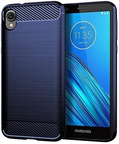 Чехол синего цвета на Motorola Moto E6, серия Carbon, Caseport