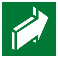 Е18 Эвакуационный знак – Открывать движением от себя