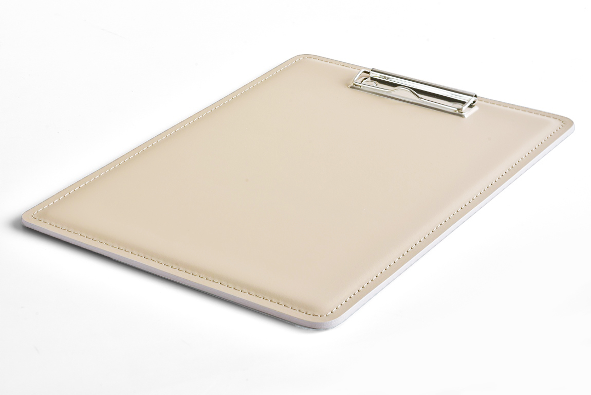 планшет для бумаг А4 светлый кожаный слоновая кость