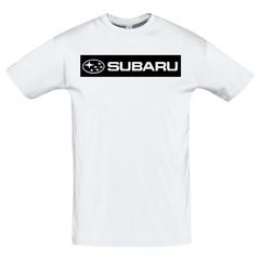 Футболка с принтом Субару (Subaru) белая 5