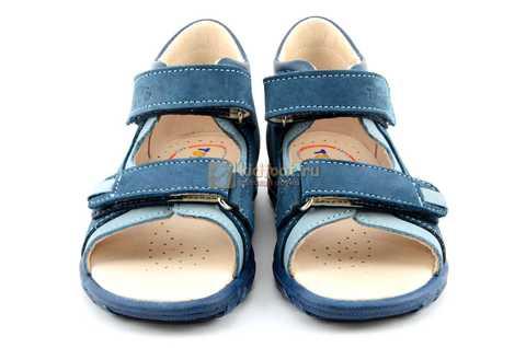 Сандалии Тотто из натуральной кожи с открытым носом для мальчиков, цвет джинс голубой. Изображение 5 из 12.