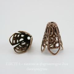Винтажный декоративный элемент - шапочка - конус 16х13 мм (оксид меди)