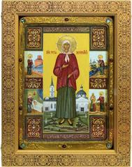 Большая Живописная икона Святая Блаженная Ксения Петербургская 42х29см на кипарисе в березовом киоте