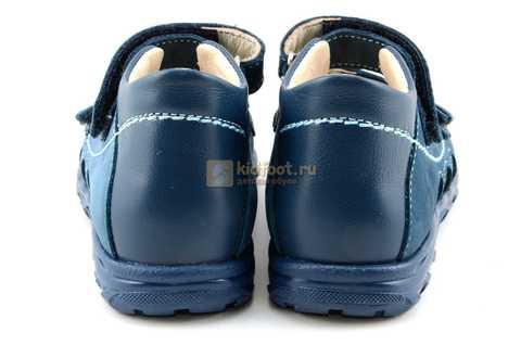 Сандалии Тотто из натуральной кожи с открытым носом для мальчиков, цвет джинс голубой. Изображение 7 из 12.