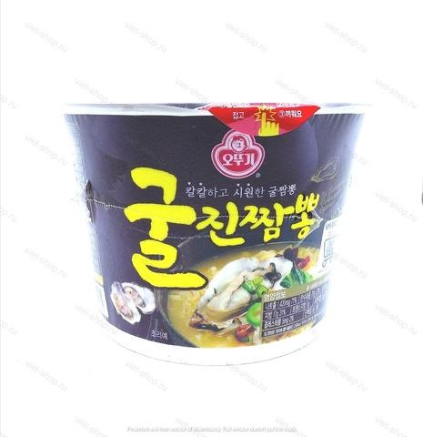 Корейская пшеничная лапша со вкусом устрицы Ottogi (Оттоги) Jin Jjambbong Ramen with Oysters, 110 гр.