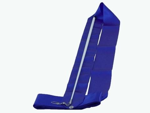 Лента гимнастическая 6м. с палочкой 56 см. (цвет однотонный, палочка белая). Цвет ленты: синий. :(АВ220ВЕ):