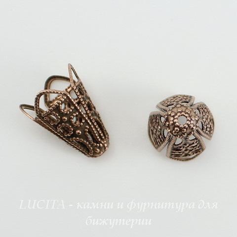 Винтажный декоративный элемент - шапочка - конус 16х13 мм (оксид меди) ()