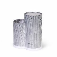 2885 FISSMAN Подставка с двумя отделениями 11x11x22+11x8х17см цвет СЕРЫЙ МРАМОР (пластик)