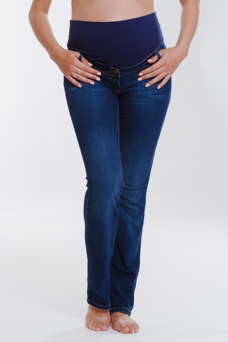 Фото джинсы для беременных MAMA`S FANTASY, плотная зимняя ткань, посадка regular, высокая трикотажная вставка от магазина СкороМама, синий, размеры.