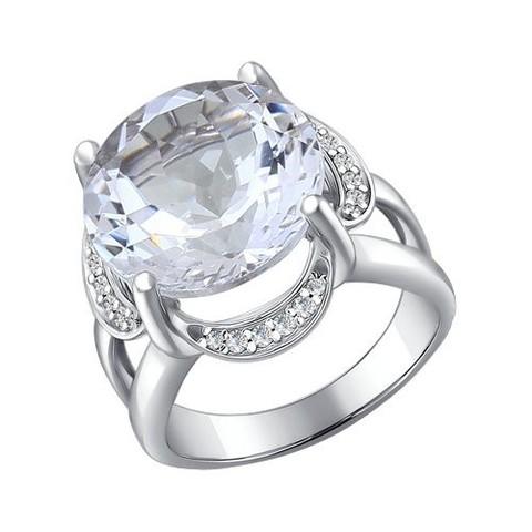 92010196 Кольцо с горным хрусталём из серебра