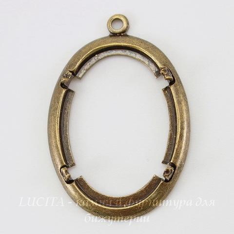 Сеттинг - основа - подвеска для камеи или кабошона 25х18 мм (оксид латуни) ()