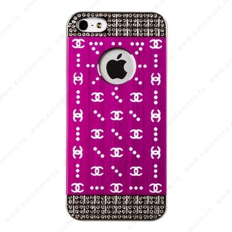 Накладка CHANEL металлическая для iPhone SE/ 5s/ 5C/ 5 серебро розовая