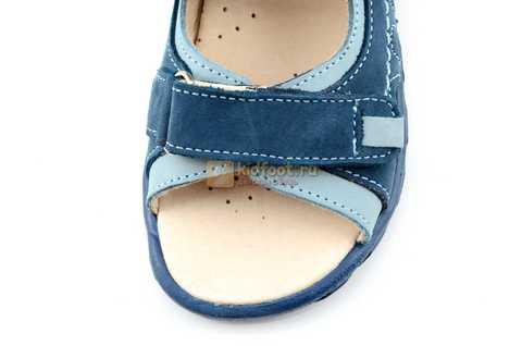 Сандалии Тотто из натуральной кожи с открытым носом для мальчиков, цвет джинс голубой. Изображение 10 из 12.