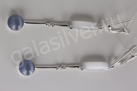 Серьги ювелирным стеклом и цирконами из серебра 925