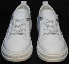 Спортивные женские туфли на шнурках без каблука El Passo sy9002-2 Sport White.