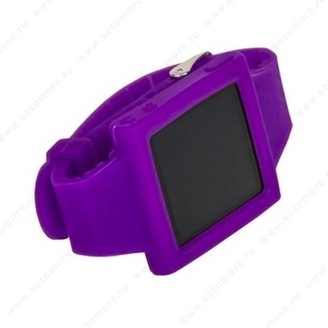 Сменный ремешок силиконовый для Apple iPod nano 6 браслет с металлической застежкой фиолетовый