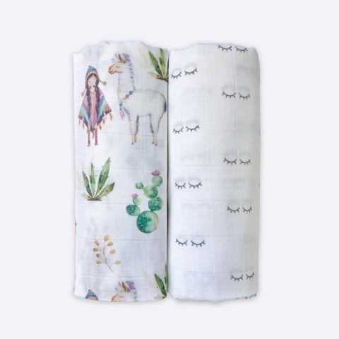 Сет из 2х муслиновых пелёнок Mjölk Ламы/Глазки
