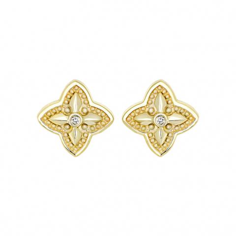 01С638744- Серьги-пусеты  из желтого золота с бриллиантами в стиле ROBERTO COIN