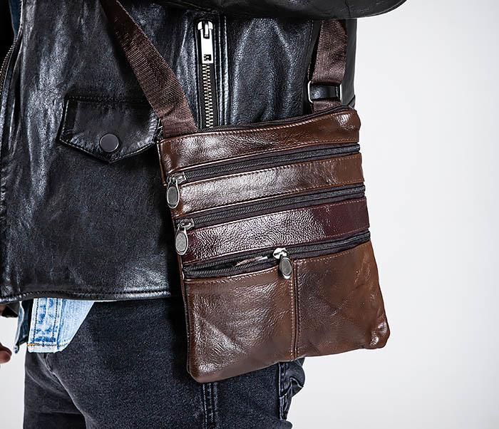 BAG540-2 Сумка планшет из натуральной коричневой кожи