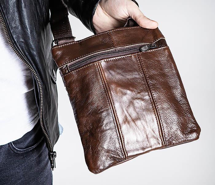 BAG540-2 Сумка планшет из натуральной коричневой кожи фото 03
