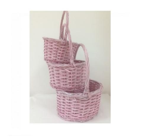 Набор плетеных корзин 3 шт. (ива), D30х15хH37 см, красный
