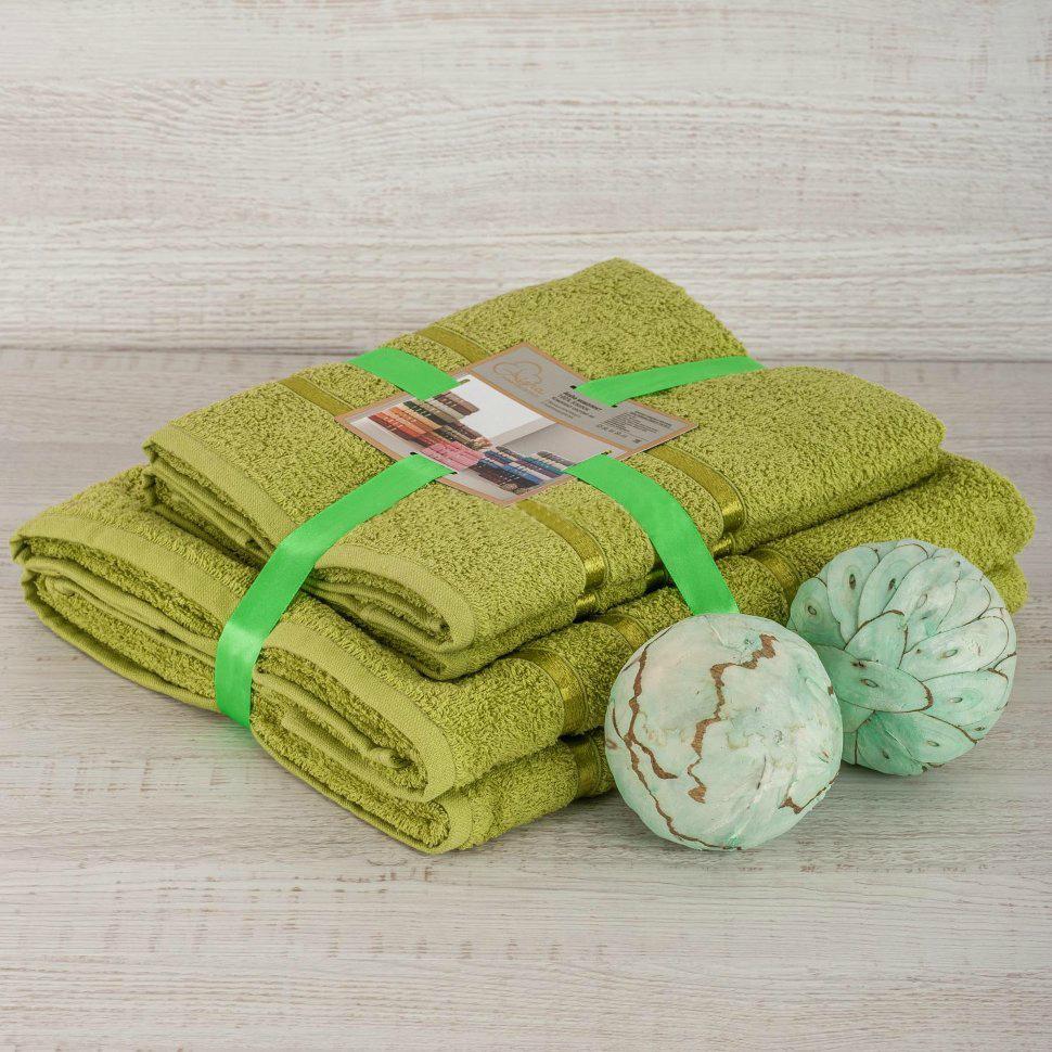 Комплект махровых полотенец 2 шт., оливковый