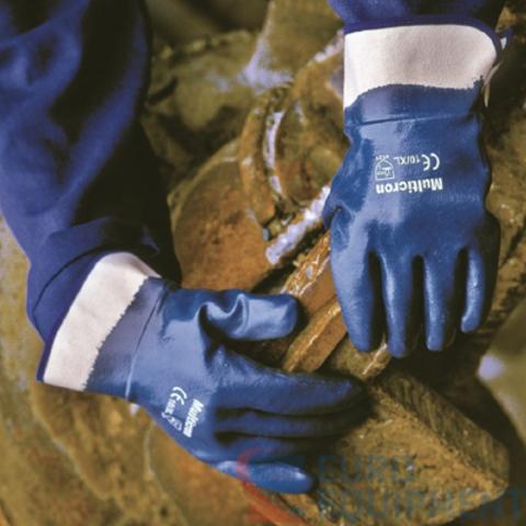 Перчатки с полным нитриловым покрытием МУЛЬТИКРОН (жесткая манжета)