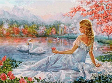Картина раскраска по номерам 40x50 Девушка смотрит на лебедей
