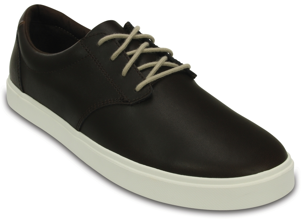 Мужские сникеры Crocs Men's CitiLane Leather Lace-up Espresso/White
