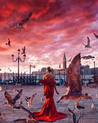 Картина раскраска по номерам 40x50 Девушка в красном на фоне красного заката
