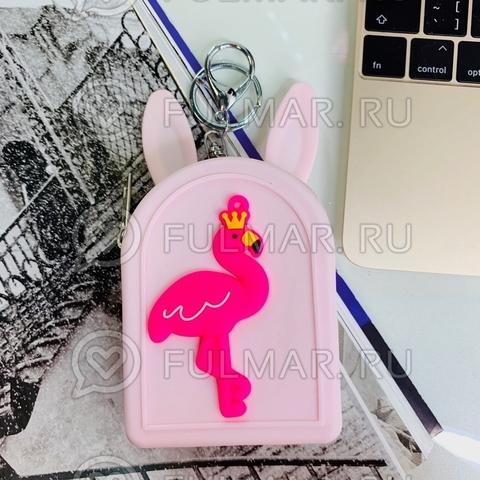 Детская силиконовая ключница-кошелек для монет-брелок с ушами зайца Фламинго (цвет: светло розовый)