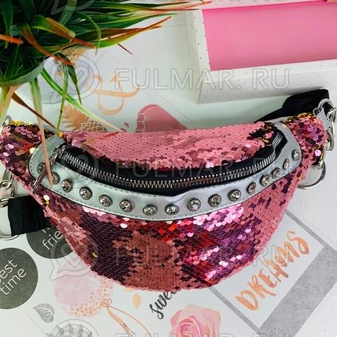Поясная сумка летняя для девочки в пайетках со стразами меняет цвет Розовый-Золотистый
