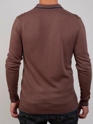 Мужской джемпер серо-коричневого цвета из шерсти и шелка - фото 4