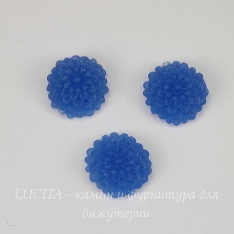 """Кабошон акриловый """"Хризантема"""", цвет - синий, 10 мм"""