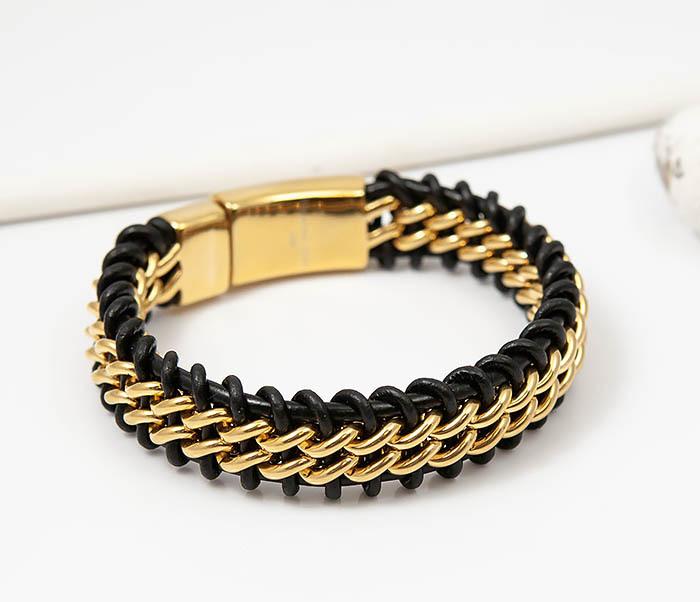 Фото - Мужской браслет из стали золотистого цвета и кожи (22 см) мужской браслет из кожи со стальной проволокой 20 см