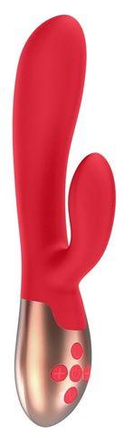 Красный вибратор Exquisite с подогревом - 20,5 см.