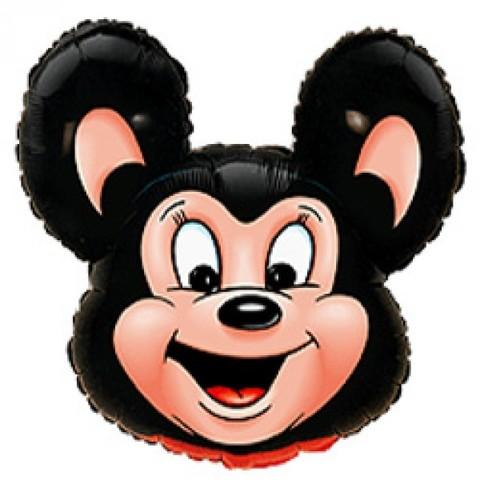 Фигурный шарик из фольги Могучая мышь. Черная.
