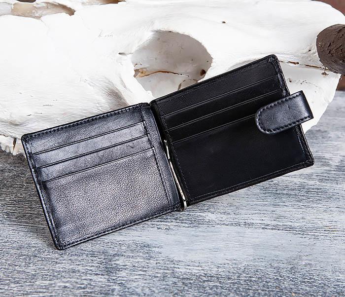 WL308-1 Мужской зажим для денег из черной кожи фото 05
