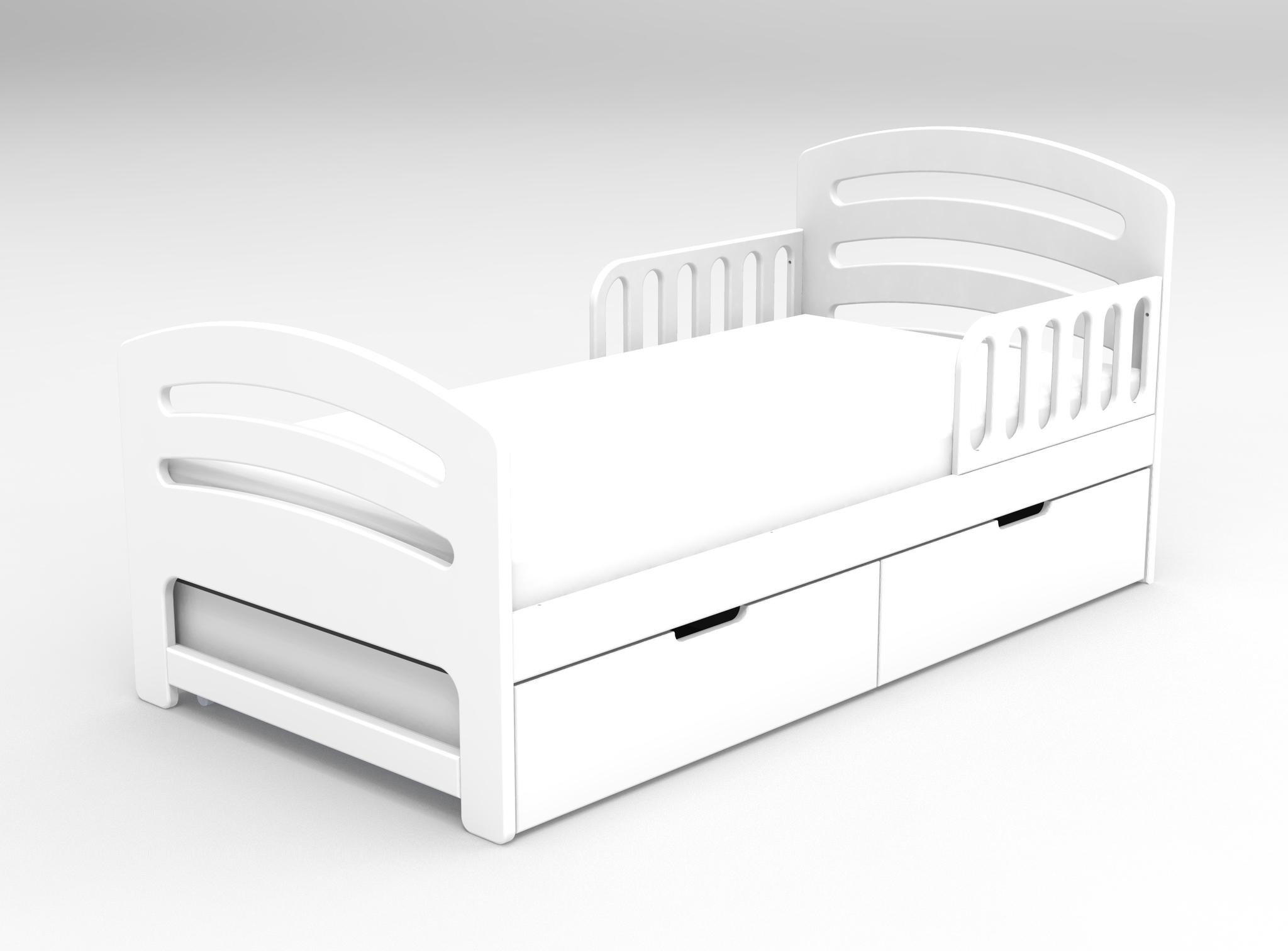 Кровать с ящиками Лахта Белая
