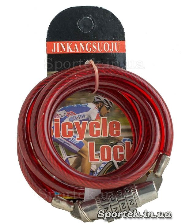 Велозамок з кодом на сталевому тросі 6 х 1130 мм з вініловим покриттям червоного кольору