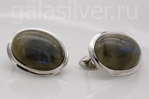 Серьги с лабрадором из серебра 925