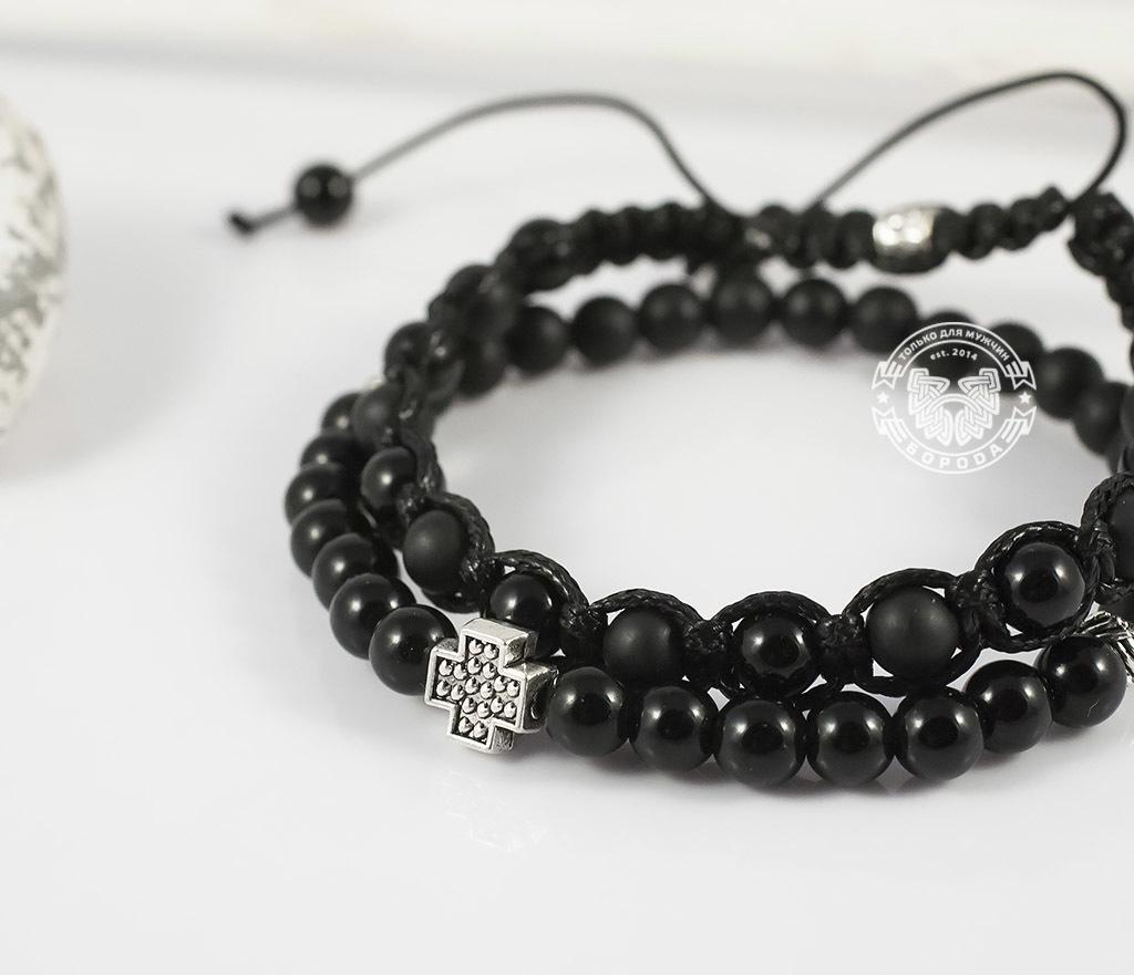 BS635-2 Пара черных мужских браслетов ручной работы из агата и шунгита. «Boroda Design» фото 04