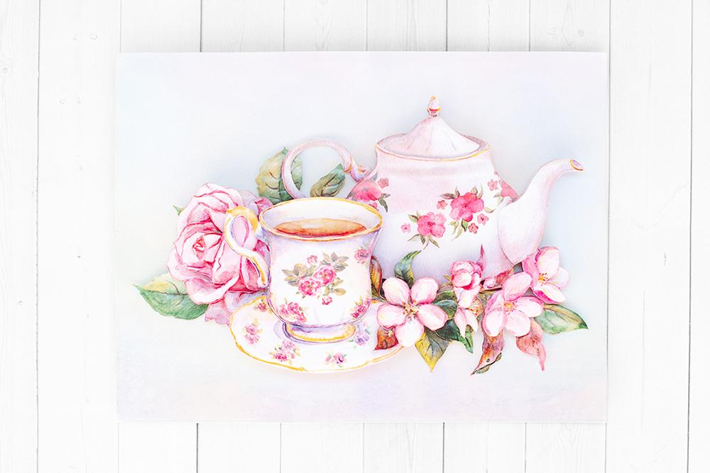 Утренний чай - готовая работа, фронтальный вид.