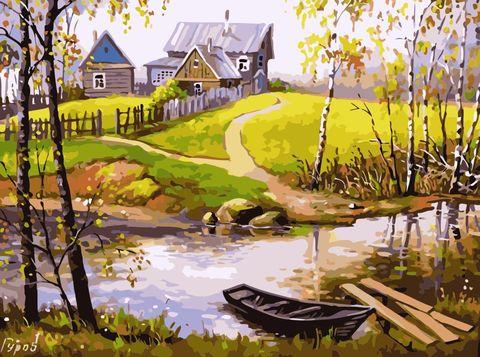 Картина раскраска по номерам 40x50 Летний день в деревушке